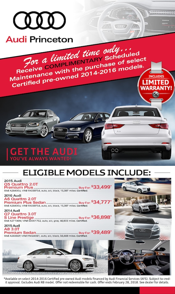 Certified PreOwned Audi Specials In Princeton NJ Serving New - Certified pre owned audi