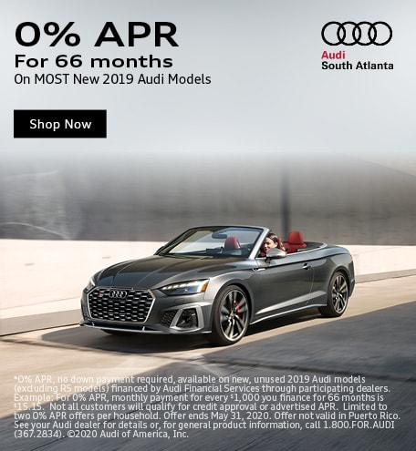 0% APR For 66 Months On Most New 2019 Audi Models