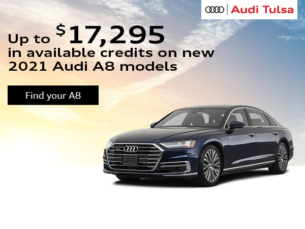 Up to $17,295 in available credits on new 2021 Audi A8 models