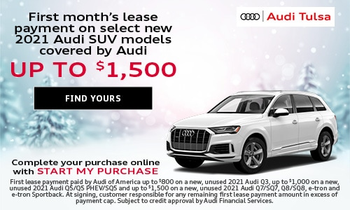 First month's lease payment on select new 2021 Audi SUV