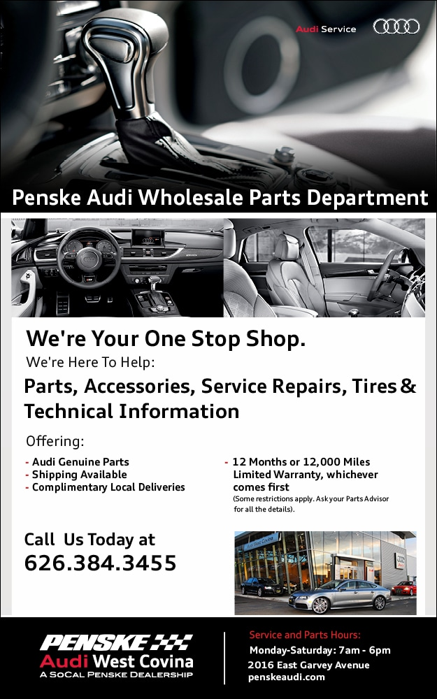 Wholesale Audi Car Parts Department At Penske Audi West Covina - Audi car parts