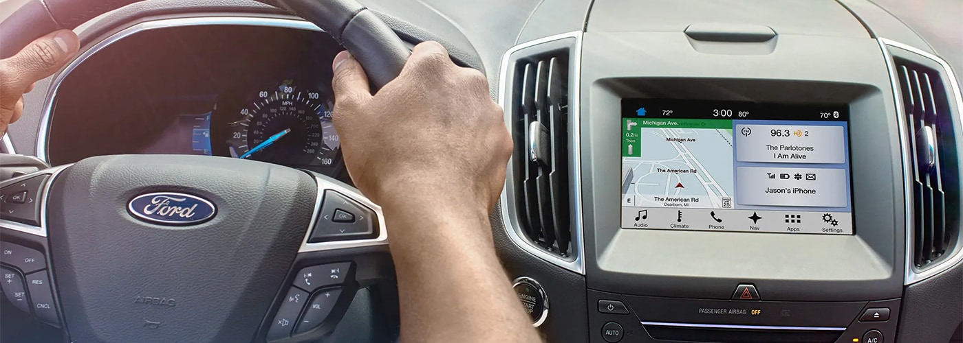 Man Driving Ford with Ford Sync Activated