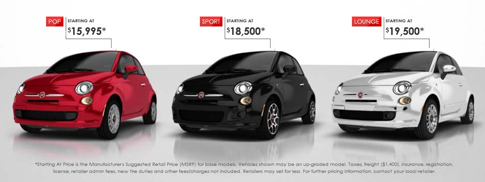 The FIAT 500 POP, SPORT and  LOUNGE