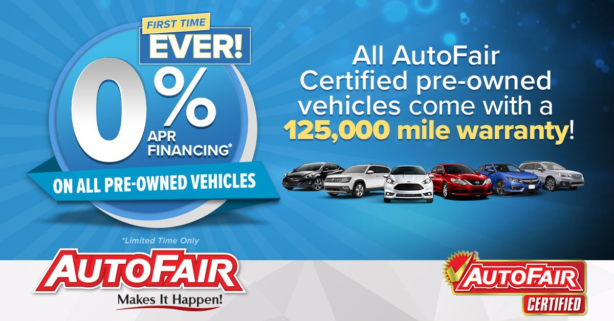 0% Financing on All Used Cars | AutoFair Auto Group