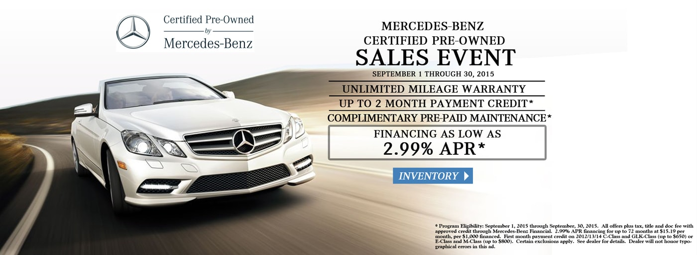 Mercedes benz certified pre owned sales event at autohaus for Mercedes benz certified pre owned sales event