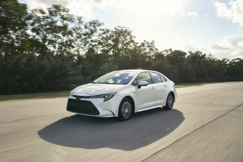 Exterior view of the 2021 Toyota Corolla Hybrid