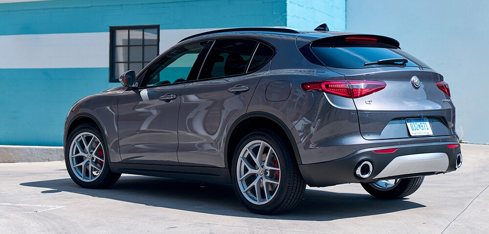 Rear three-quarter view of 2018  Alfa Romeo Stelvio.