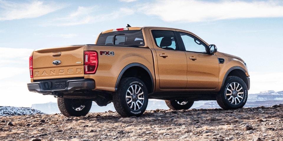 2019 Ford Ranger rear 3/4 view