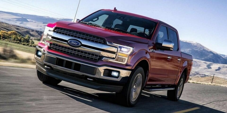 Red 2018 Ford F-150 front 3/4 view