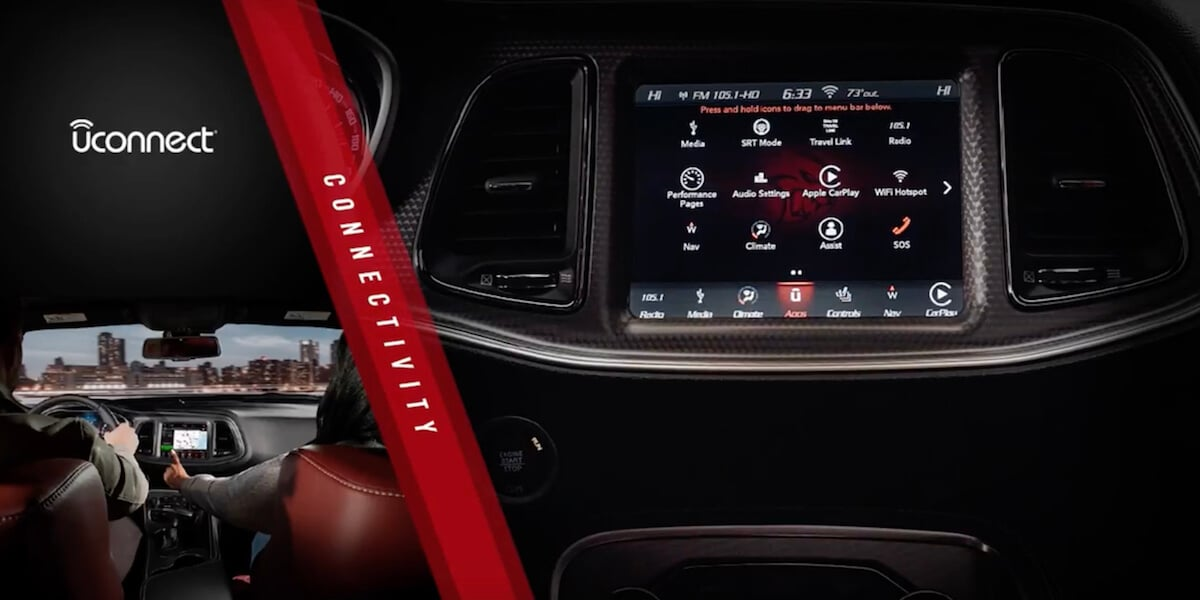 Dodge Challenger Dashboard and Uconnect screen