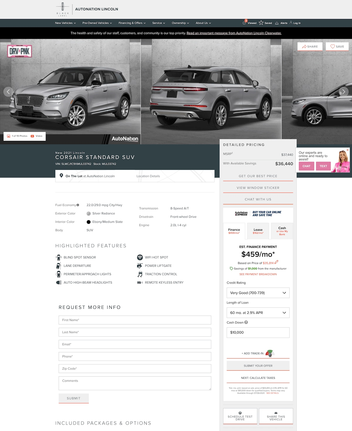 AutoNation Lincoln Clearwater vehicle details page