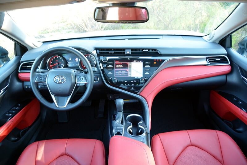 The Camry XSE has a stunning high-contrast cabin