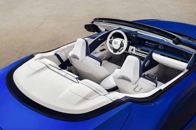 Interior view of the 2021 Lexus LC 500 convertible title=