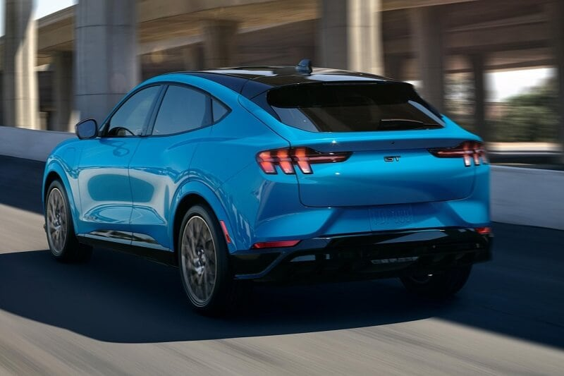 The 2021 Ford Mustang Mach-E in Grabber Blue