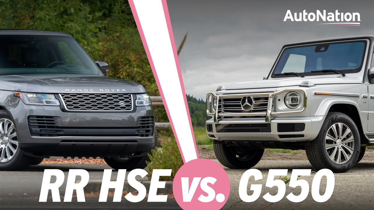 Image composition of the 2020 Mercedes-Benz G 550 vs. 2020 Land Rover Range Rover HSE