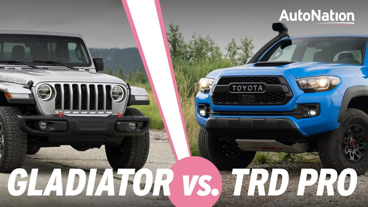 Image composition of the 2020 Jeep Gladiator Rubicon vs. Toyota Tacoma TRD Pro