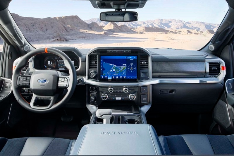 Interior view of the 2020 Ford F-150 Raptor