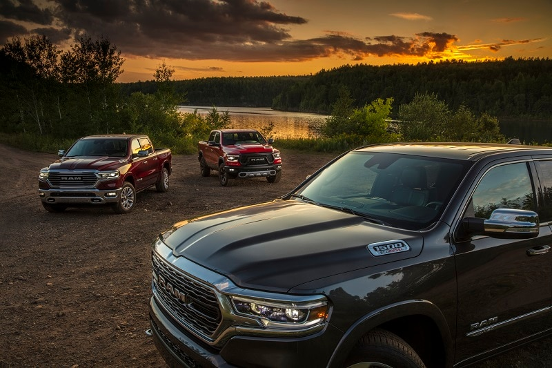 RAM 1500 trucks enjoy a picturesque lake view