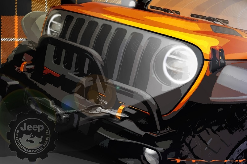 Exterior view of the Easter Jeep Safari Orange Peelz Concept