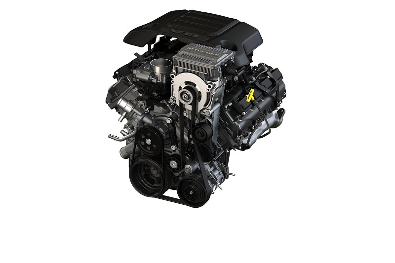 View of the 2022 Jeep e-torque 5.7-liter HEMI engine