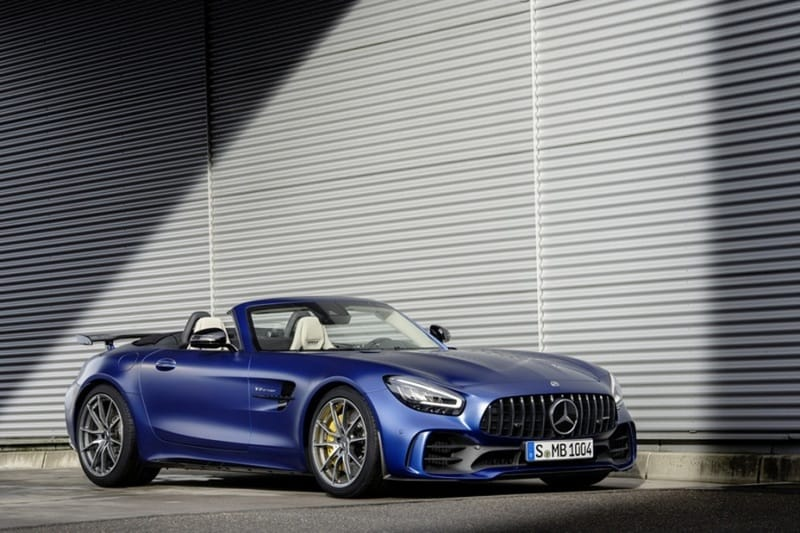 Exterior view of the Mercedes-AMG GT R against a concrete backdrop