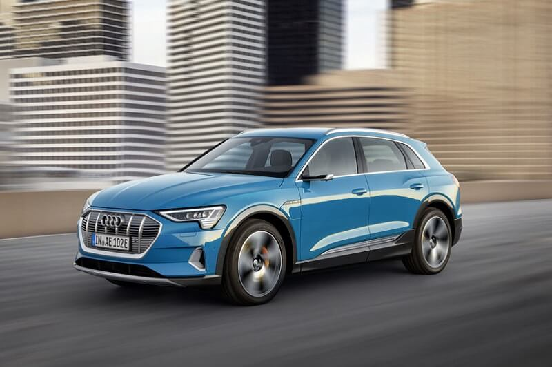 The 2020 Audi e-tron in Antigua Blue