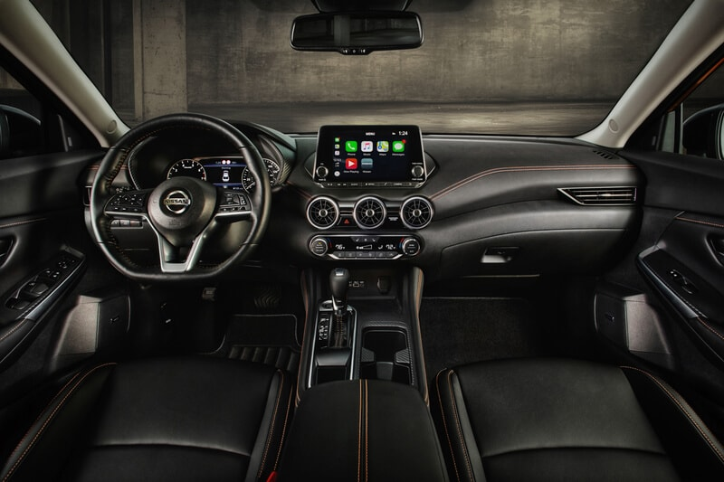 For 2020 the interior of the Sentra has gone decidedly upscale. Apple CarPlay and Android Auto are standard.