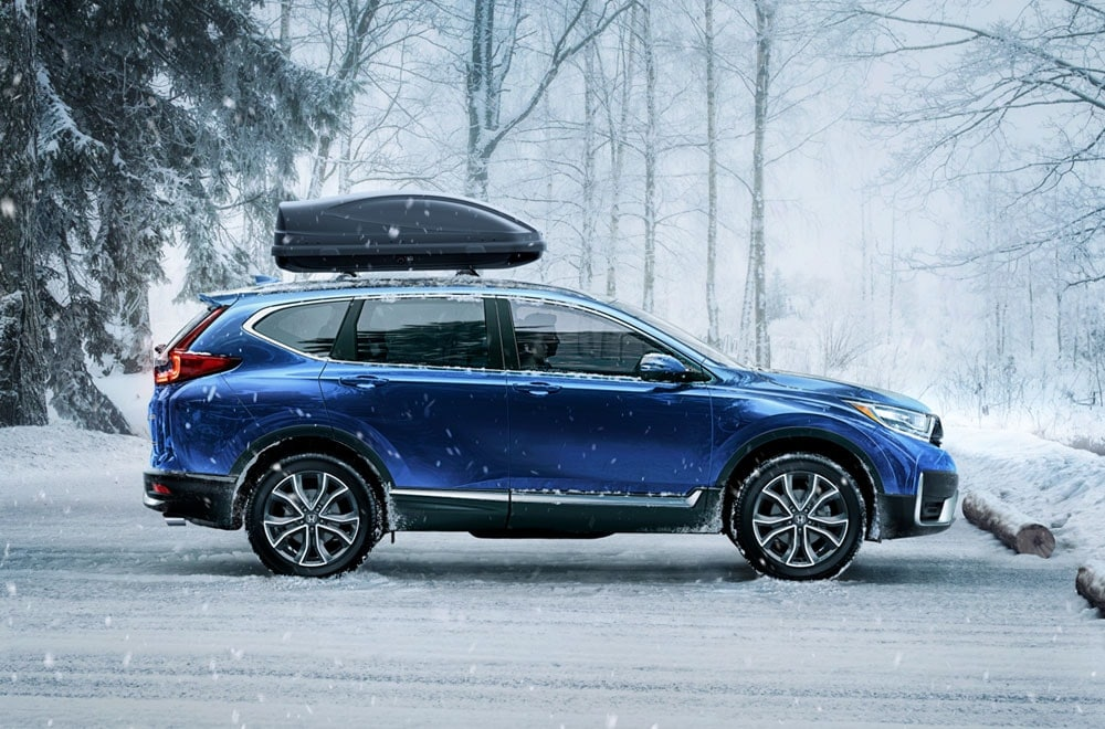 Picture of a Honda CR-V in a winter landscape