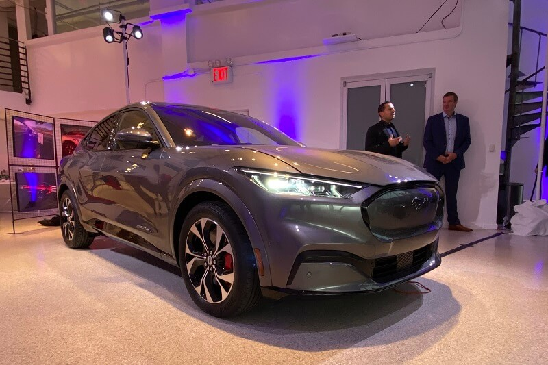 The 2021 Mustang Mach-E at the launch event in New York City