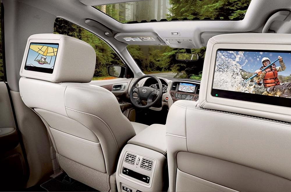 An image of the rear seat entertainment in the Nissan Pathfinder
