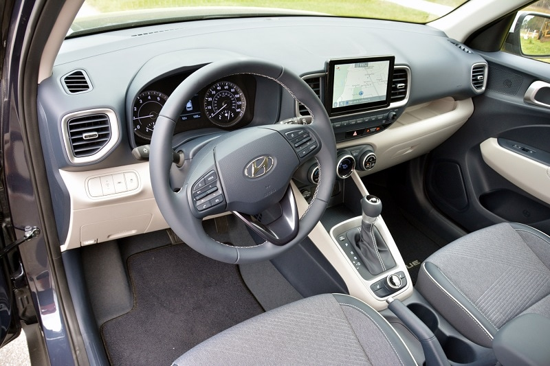 Interior view of the 2021 Hyundai Venue Denim Edition