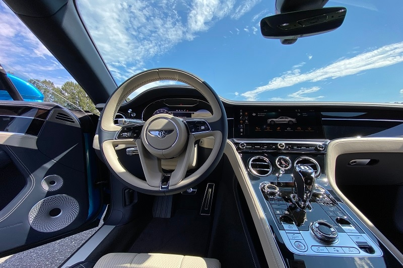 Interior view of the Bentley Continental GT V8