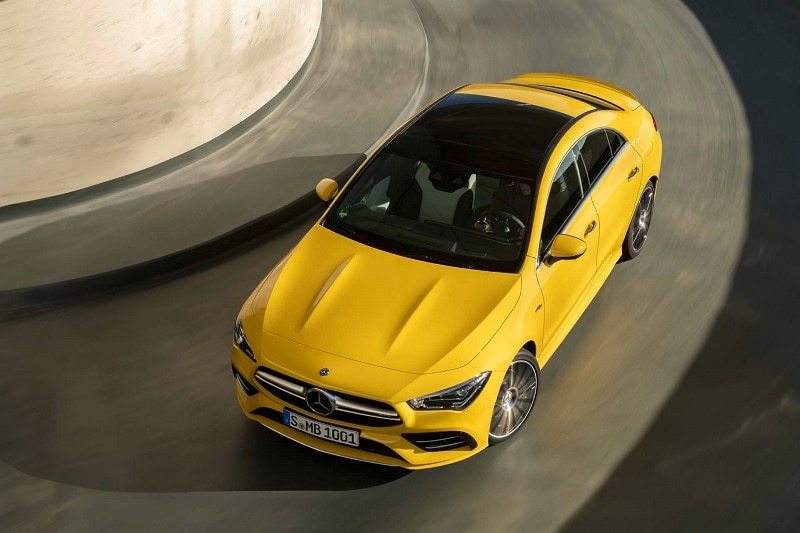 Birds-eye view of a yellow Mercedes-AMG CLA 35 vehicle