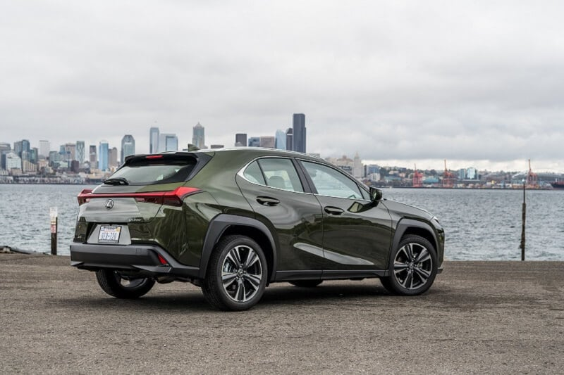 Look closely at the Lexus UX's rear corners, you'll notice the taillight lenses do double duty as rear fins. It's a good look.