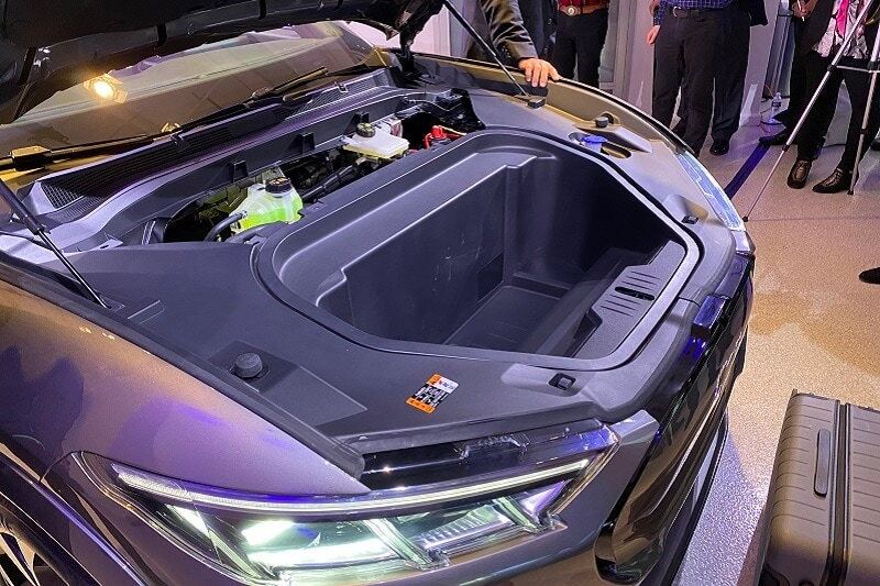 The front storage area of the all-electric 2021 Mustang Mach-E.