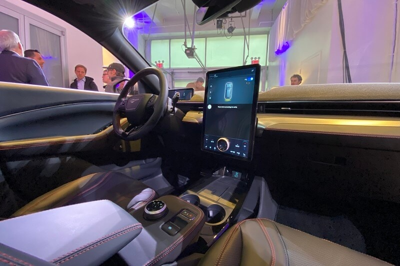 The interior of the 2021 Mustang Mach-E features a large 15-inch screen.