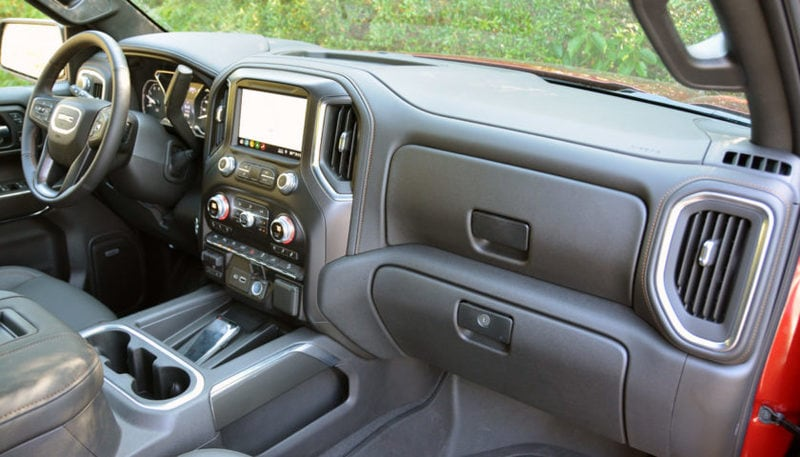 The exterior of the Sierra AT4 might be rugged outside, but the inside is all about luxury.