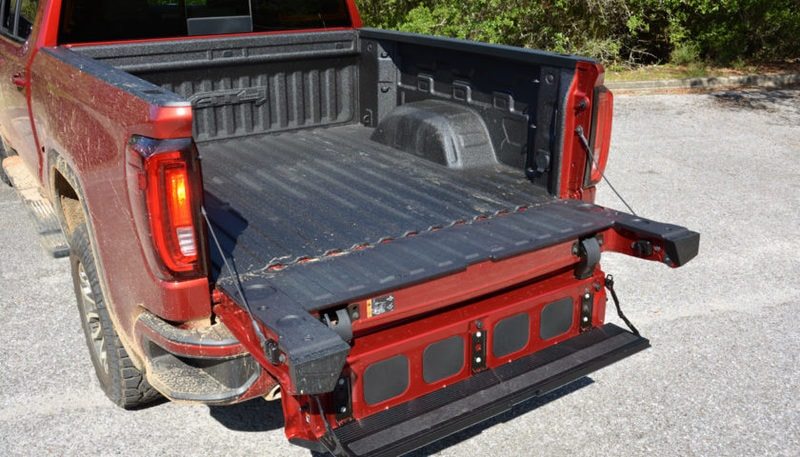 GMC's innovative MultiPro Tailgate, allows easy access to the cargo bed. But you aren't able to use the step if a trailer hitch is connected.