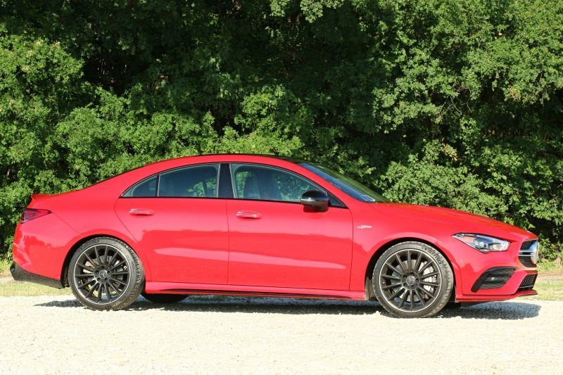 Side view of the 2020 Mercedes-AMG CLA 35