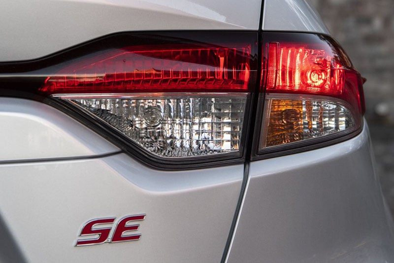 Exterior view of Toyota Corolla brake lights