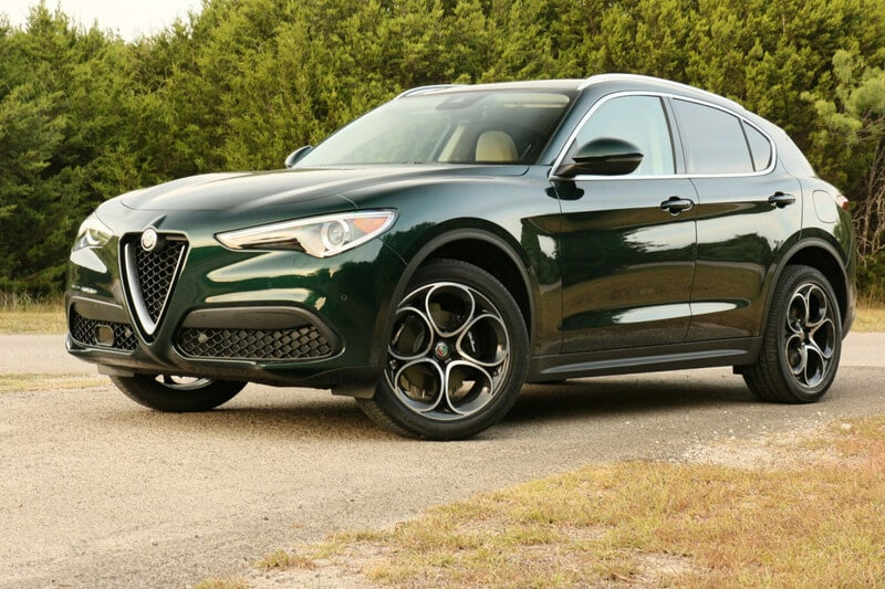 The front of the Stelvio features Alfa Romeo's 'trilobo' grille.