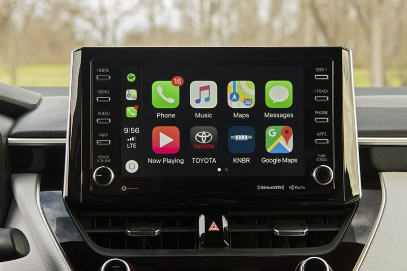 View of infotainment screen in Toyota Corolla