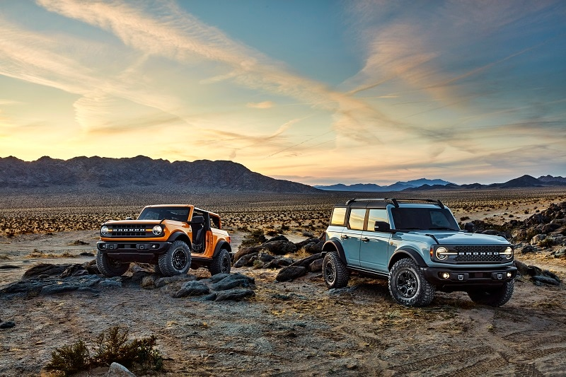 View of the 2021 Ford Bronco and the Ford Bronco Sport