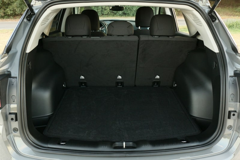 The Jeep Compass has 27.2 ft³ of storage with the seats up, and 59.8 ft³ with them folded.