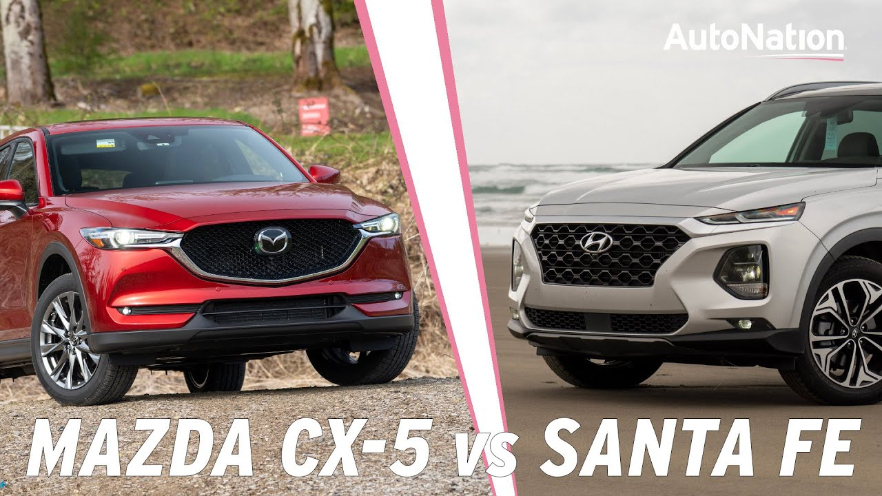 Image commposite of Mazda CX-5 and Hyundai Santa Fe vehicles