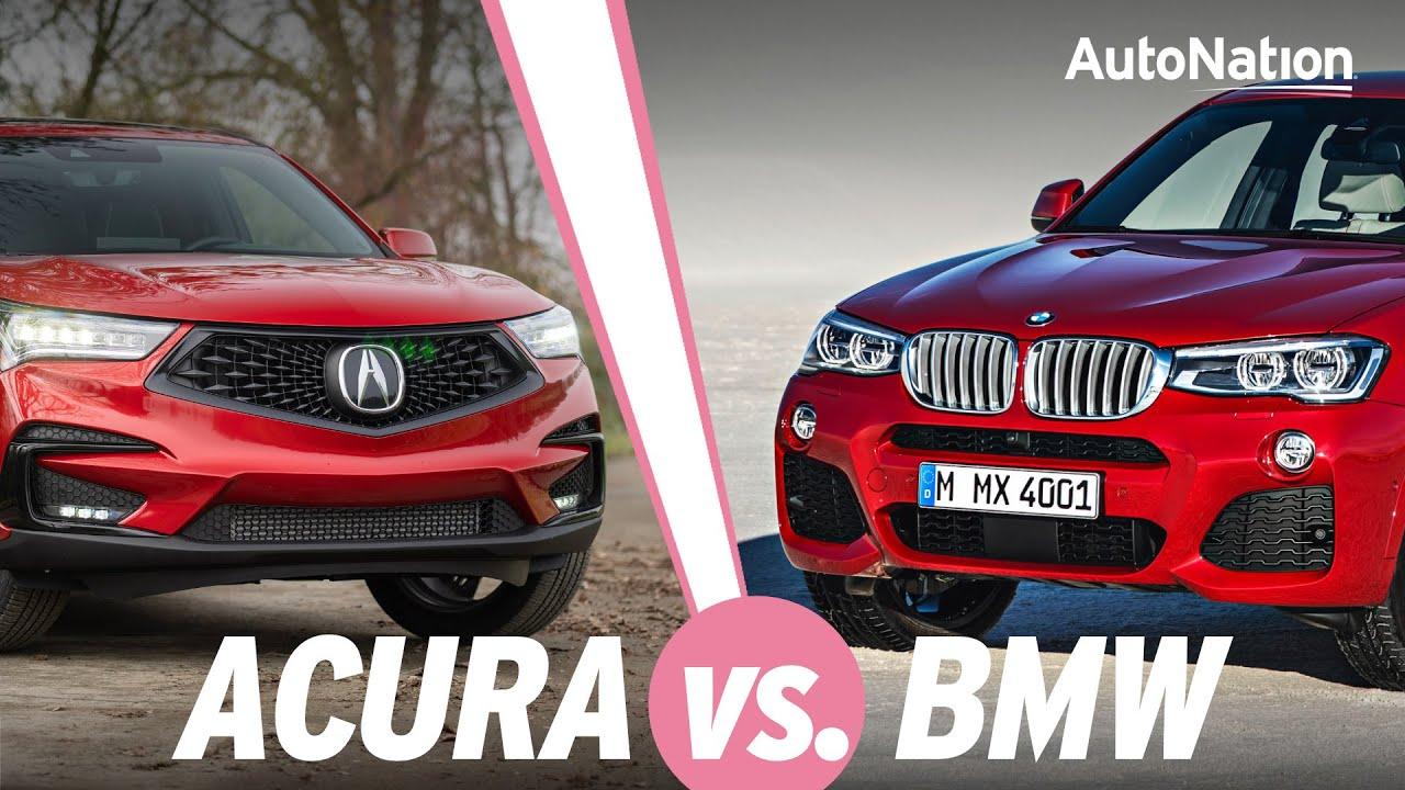 Image composite of 2020 BMW X4 vs. 2020 Acura RDX vehicles