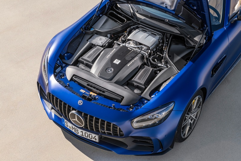 View of the engine block fo the Mercedes-AMG GT R