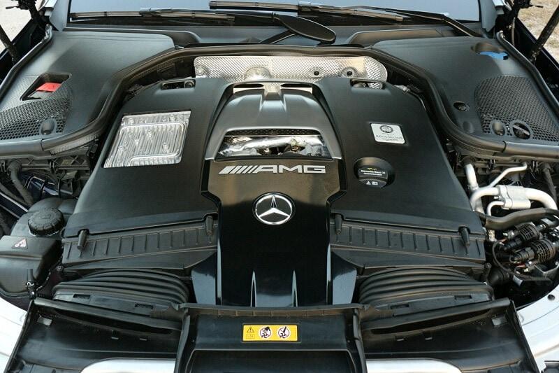 Engine bay of 2019 Mercedes-AMG E 63 S
