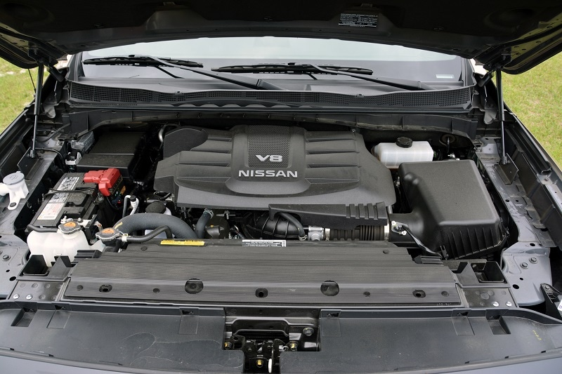 View of the engine block of the 2021 Nissan Titan Pro-4X