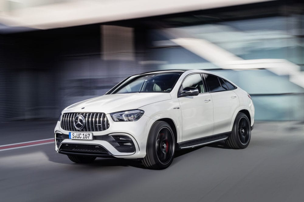 View of the exterior of the Mercedes-AMG GLE 63 inside a showroom